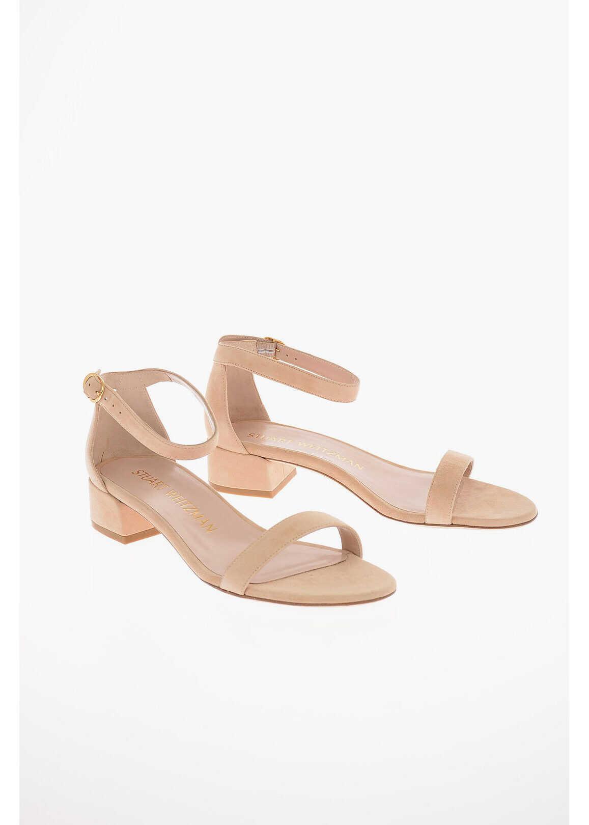 Stuart Weitzman Suede NUDIST JUNE Sandals 4 Cm PINK imagine b-mall.ro