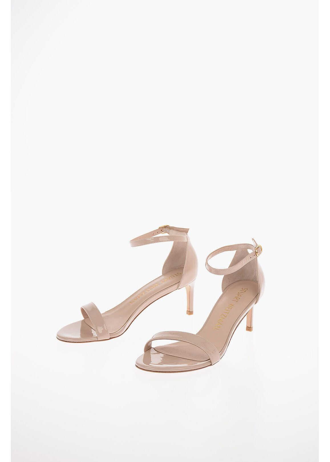 Stuart Weitzman Patent Leather NUNAKEDSTRIGHT 60 Sandals 6 cm PINK imagine b-mall.ro