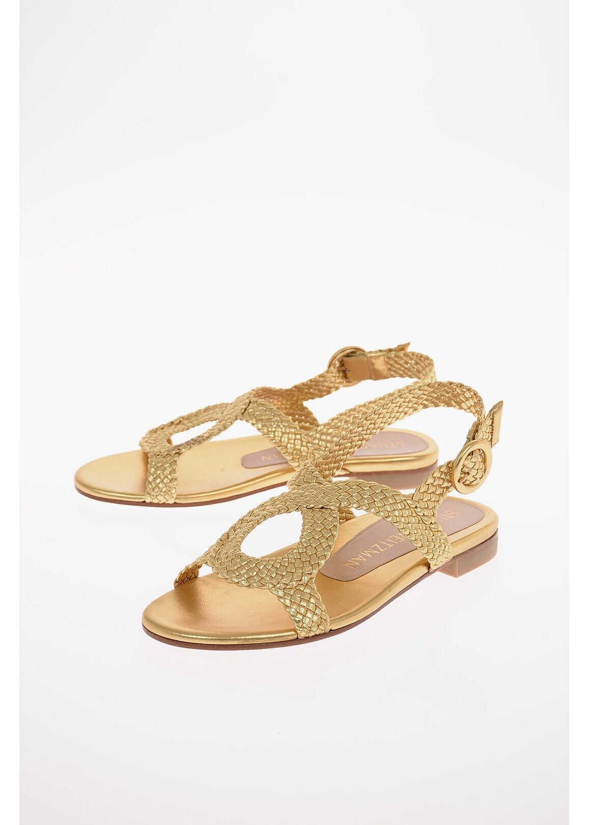 Stuart Weitzman Braided Metallic Leather TEODORA Sandals 1.5 cm GOLD imagine b-mall.ro