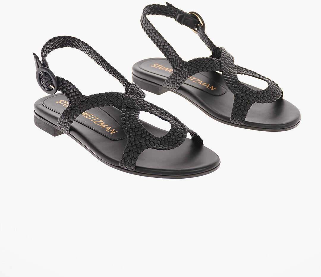 Stuart Weitzman Braided Leather TEODORA Sandals 1.5 cm BLACK imagine b-mall.ro