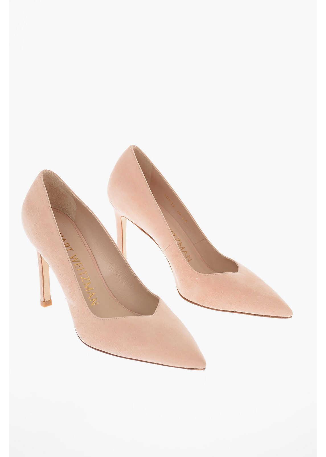 Stuart Weitzman Suede ANNY Pumps with Stiletto Heel 10 Cm PINK imagine b-mall.ro