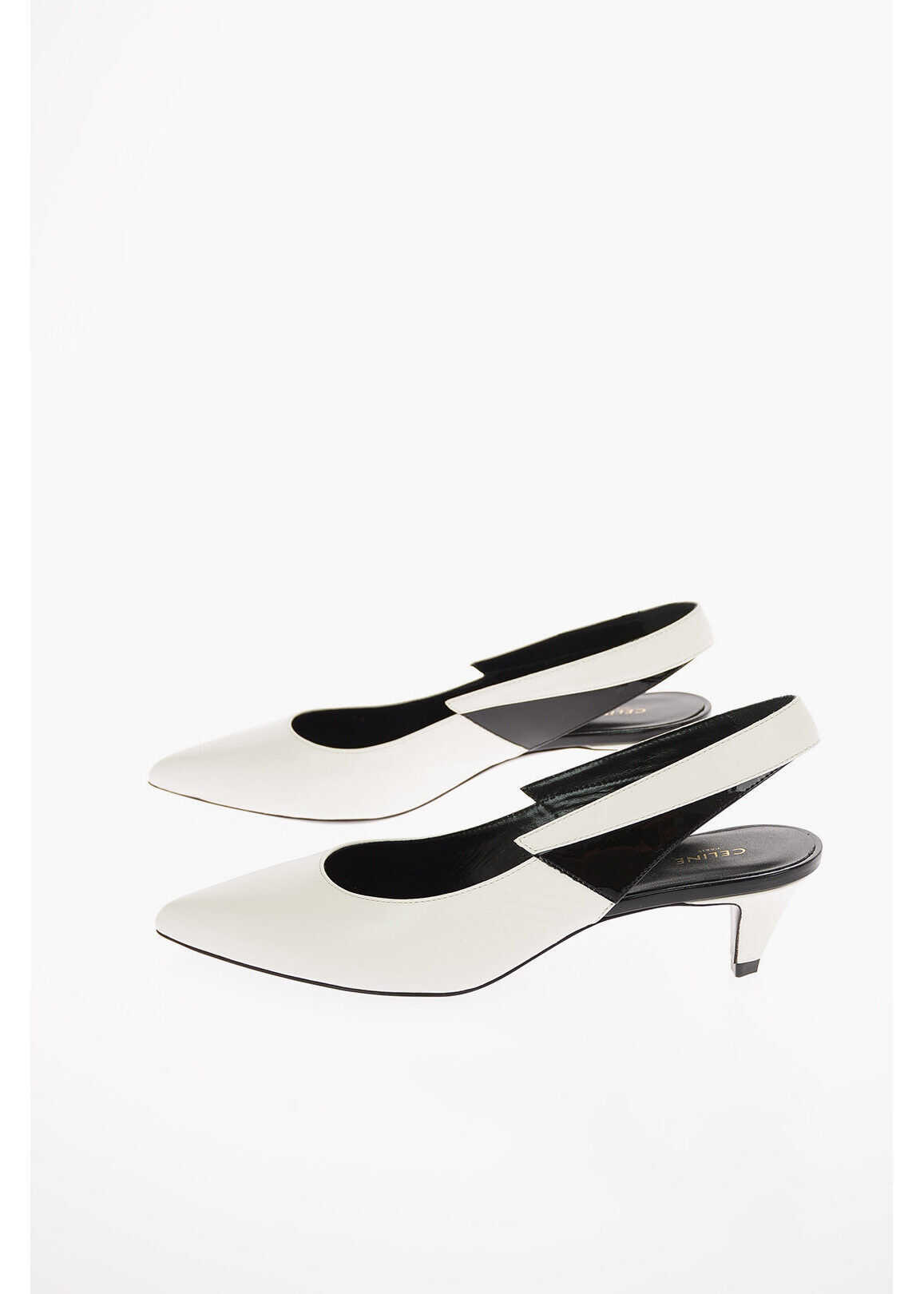 Céline Soft Leather Slingback Pumps with Patent Leather Detail and WHITE imagine b-mall.ro