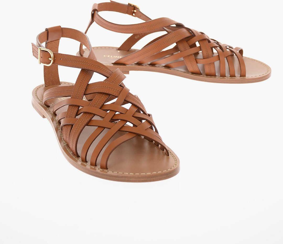 Céline Braided Leather Sandals BROWN imagine b-mall.ro