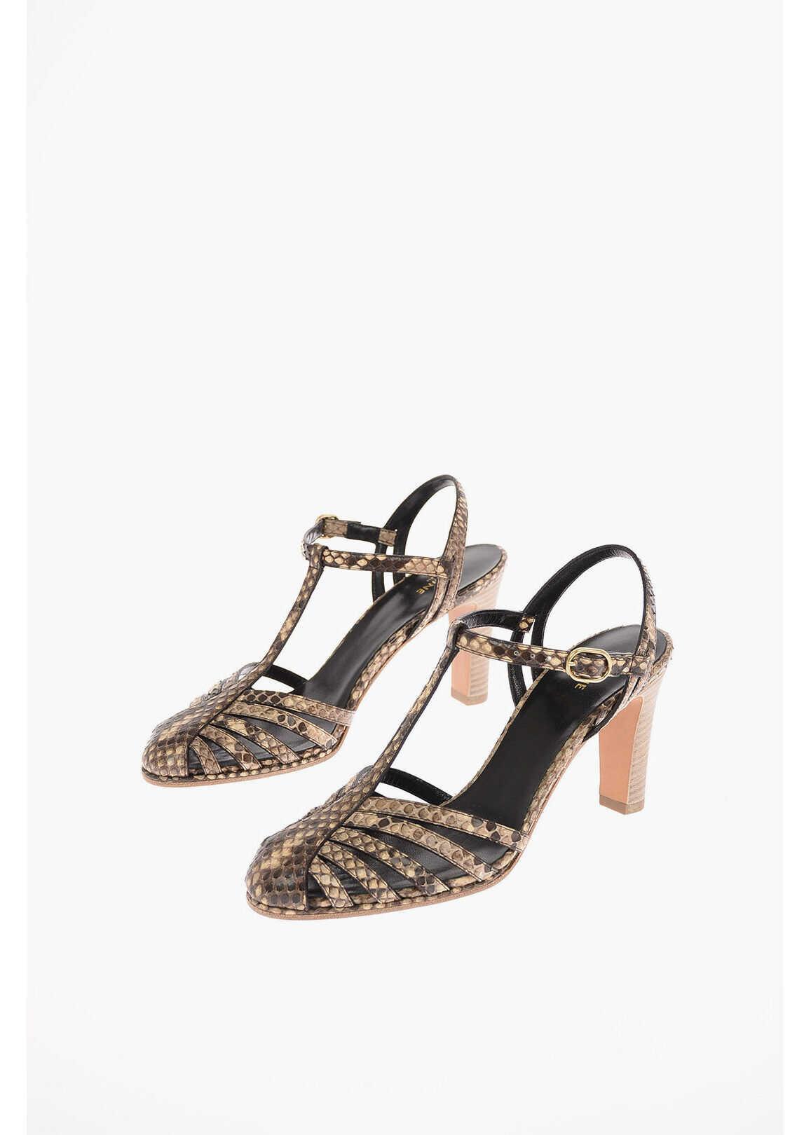 Céline Python Skin Sandals with Ankle Strap 10 Cm BROWN imagine b-mall.ro