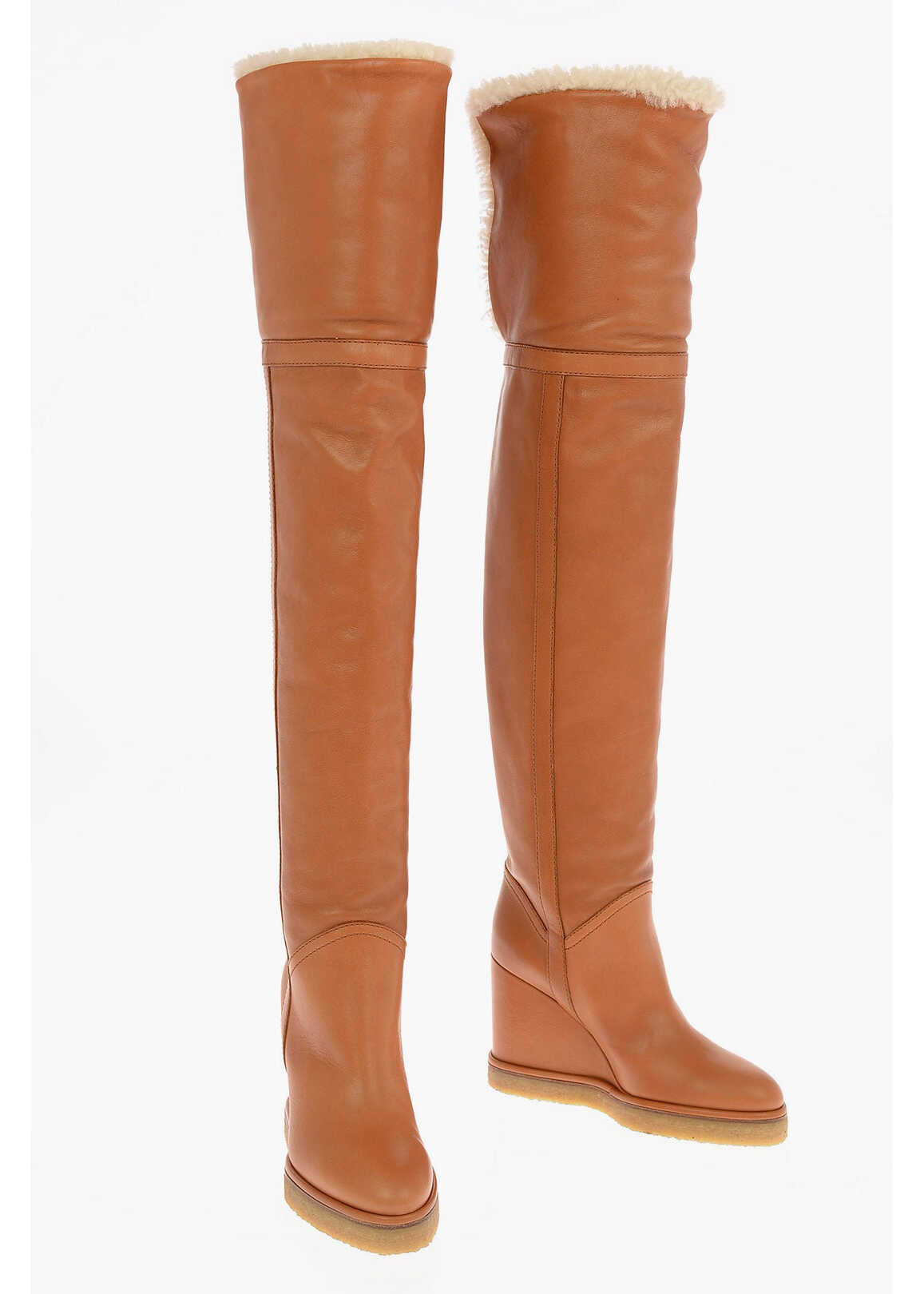 Céline Over the Knee Pull on Boots MANON with Shearling Detail 10cm BROWN imagine b-mall.ro