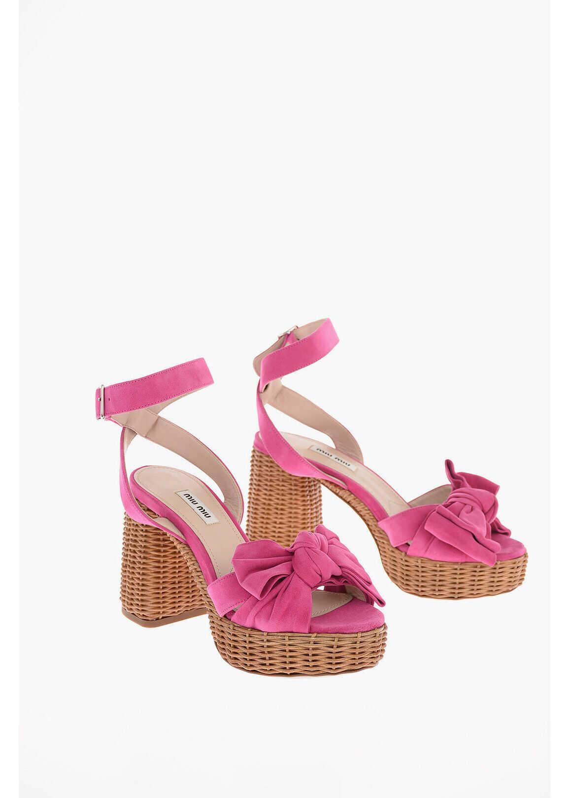 Miu Miu Suede Sandals with Wicker Sole 10cm PINK imagine b-mall.ro