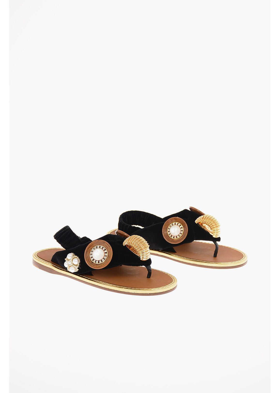 Miu Miu Velvet Thong Sandals with Jewel Applications BLACK imagine b-mall.ro