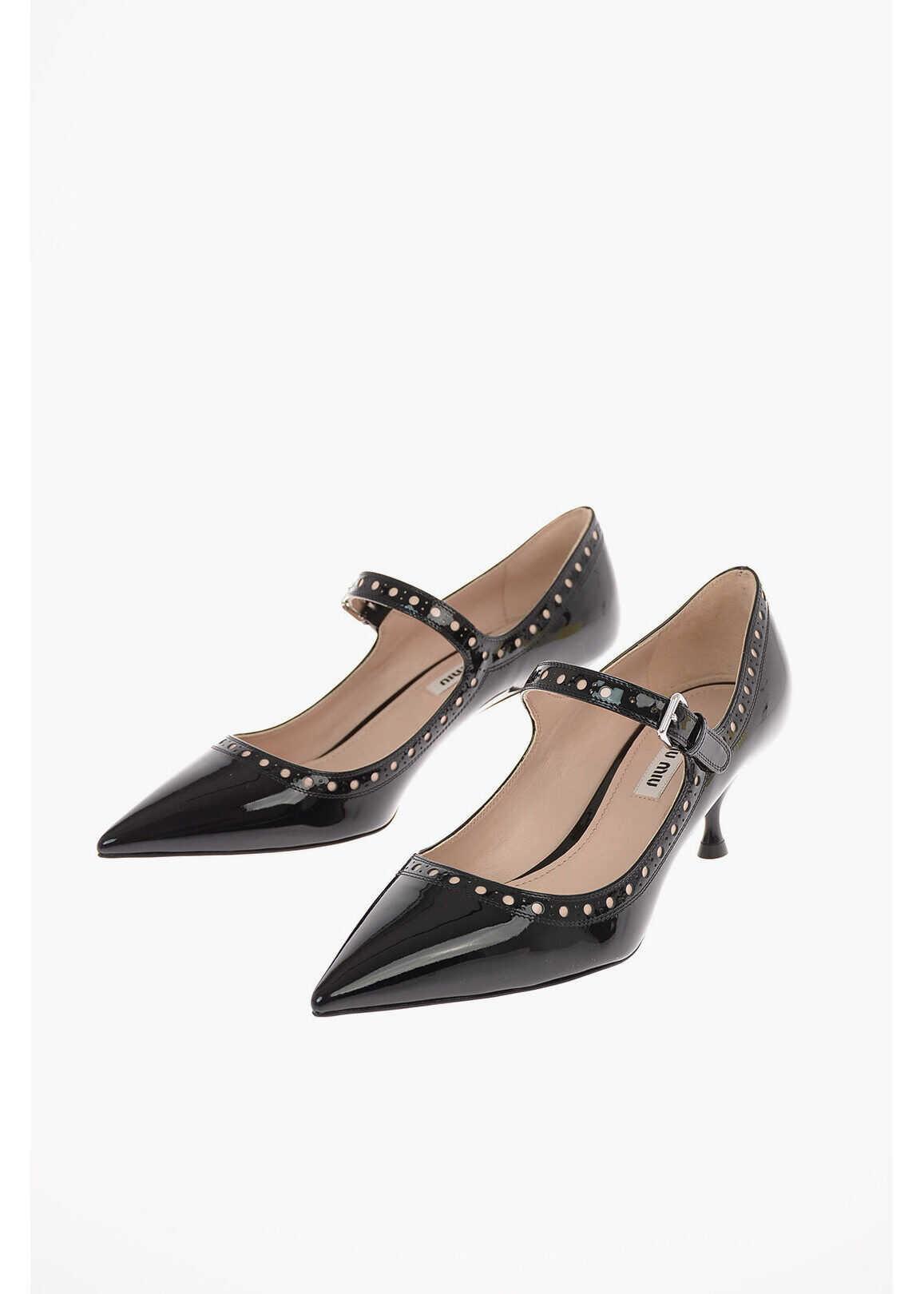Miu Miu Lacquered Leather Kitten Heel Pumps 5cm BLACK imagine b-mall.ro