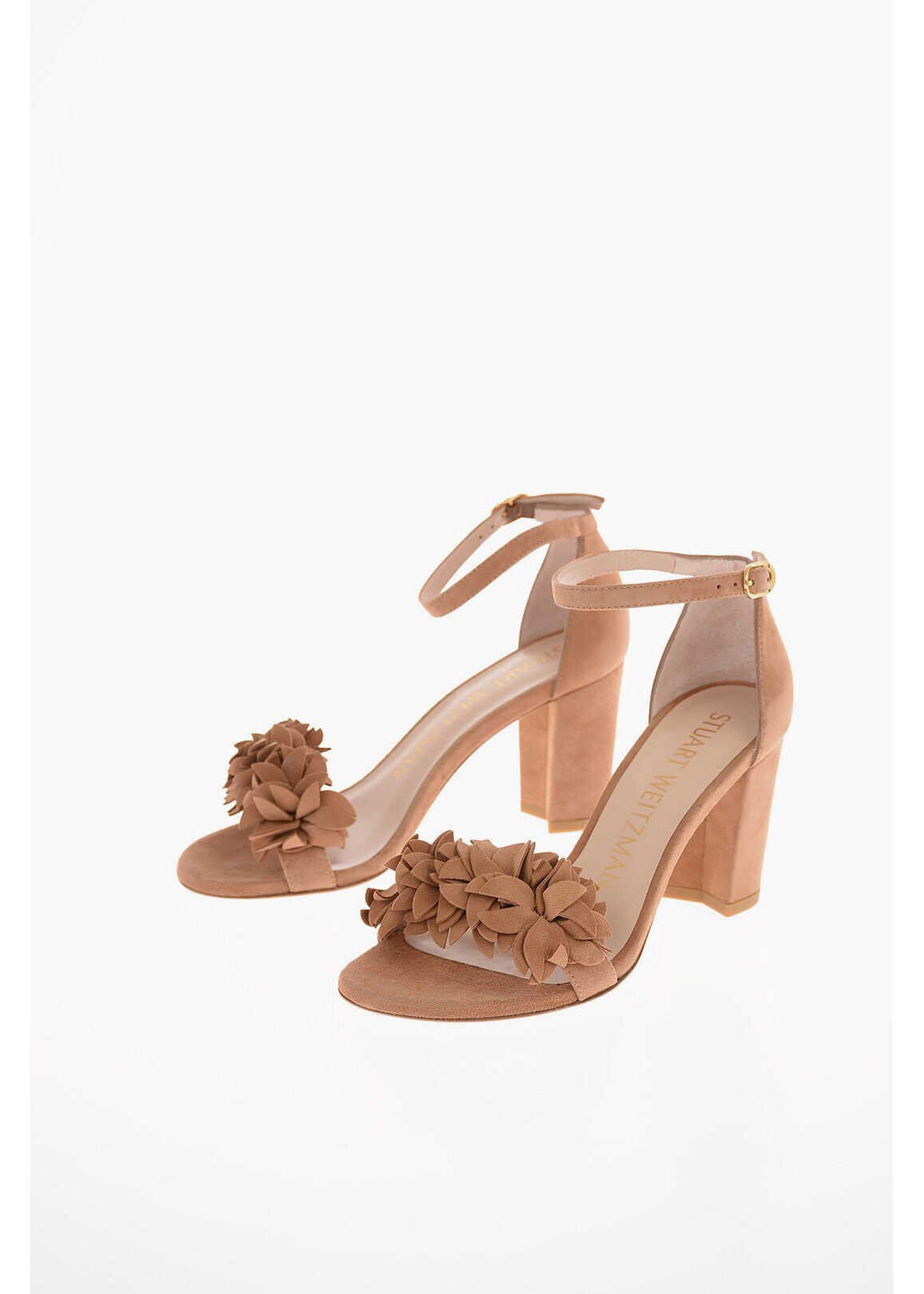 Stuart Weitzman Suede NERYLNUDE Sandals with Floral Detail 8 Cm BROWN imagine b-mall.ro