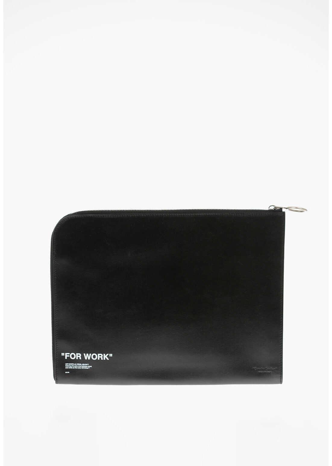 Off-White Leather QUOTE Briefcase BLACK imagine b-mall.ro