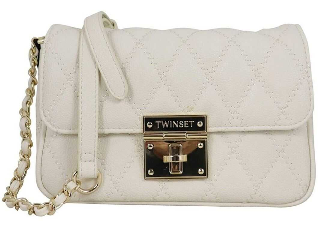 Twin-set Simona Barbieri Quilted Synthetic Leather Shoulder Bag 202TB701603363 Pink imagine b-mall.ro