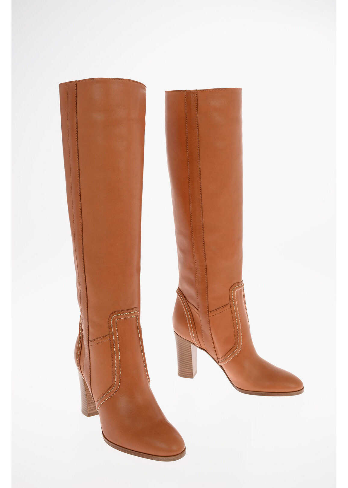 Céline Leather Pull On Knee High Boots 8cm BROWN imagine b-mall.ro