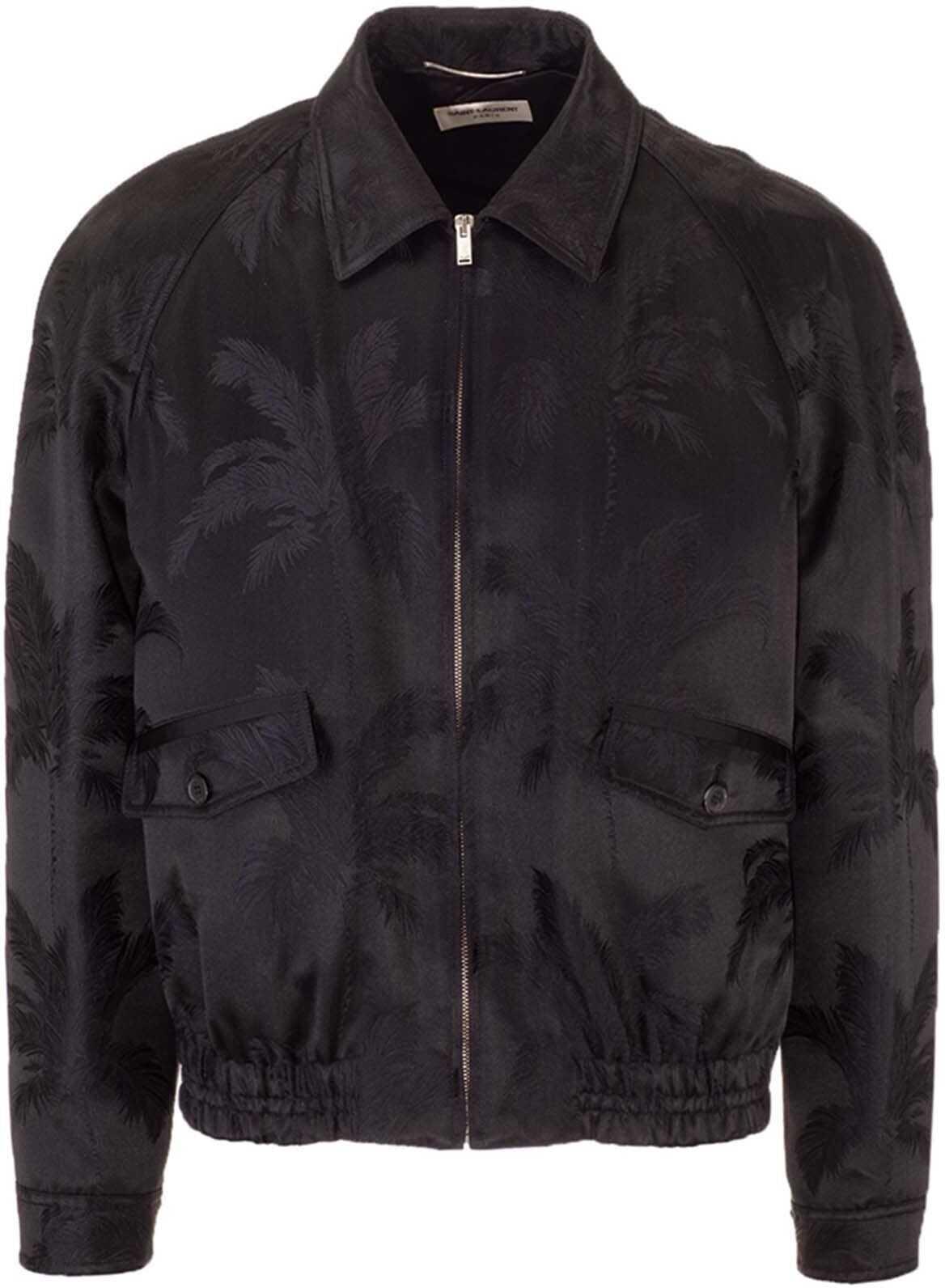 Saint Laurent Jacquard Satin Jacket In Black Black imagine