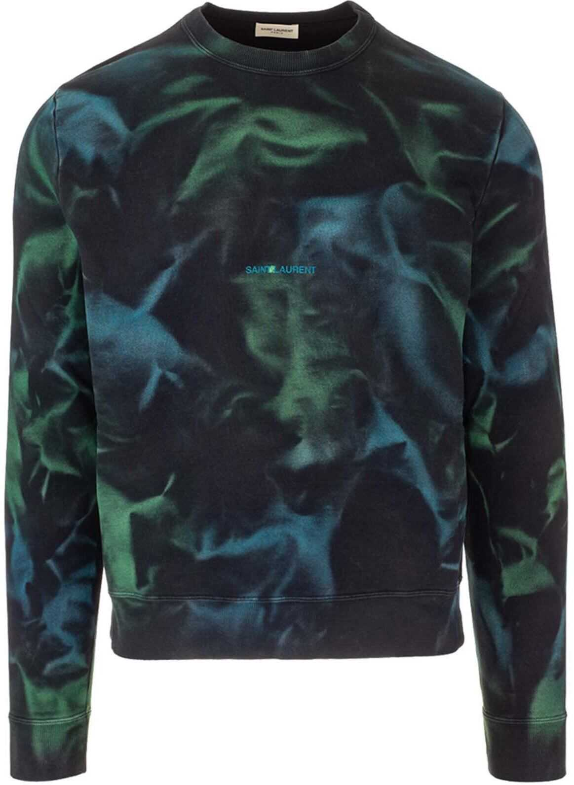 Saint Laurent Tie-Dye Crewneck Sweatshirt Multi imagine