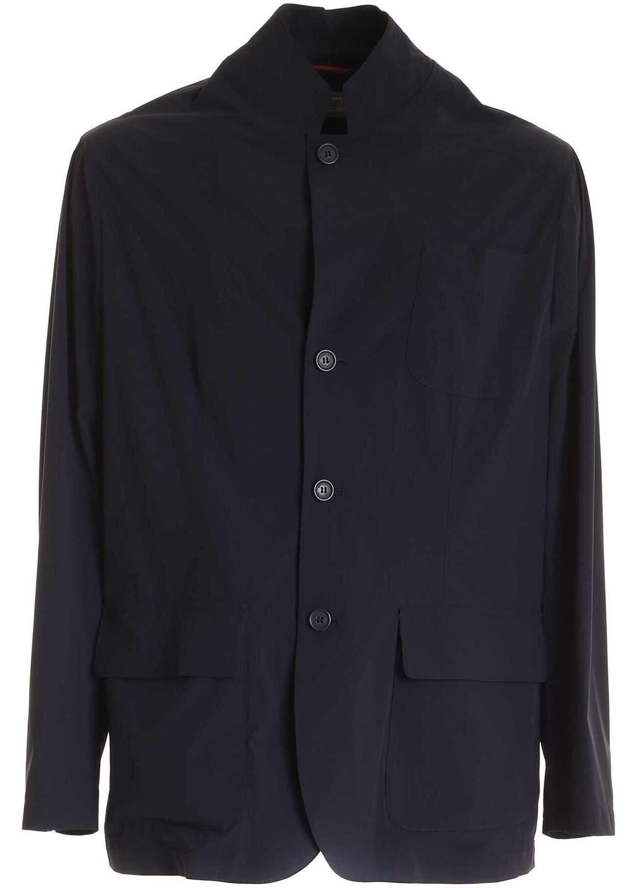 Brunello Cucinelli Pockets Jacket In Blue Blue imagine