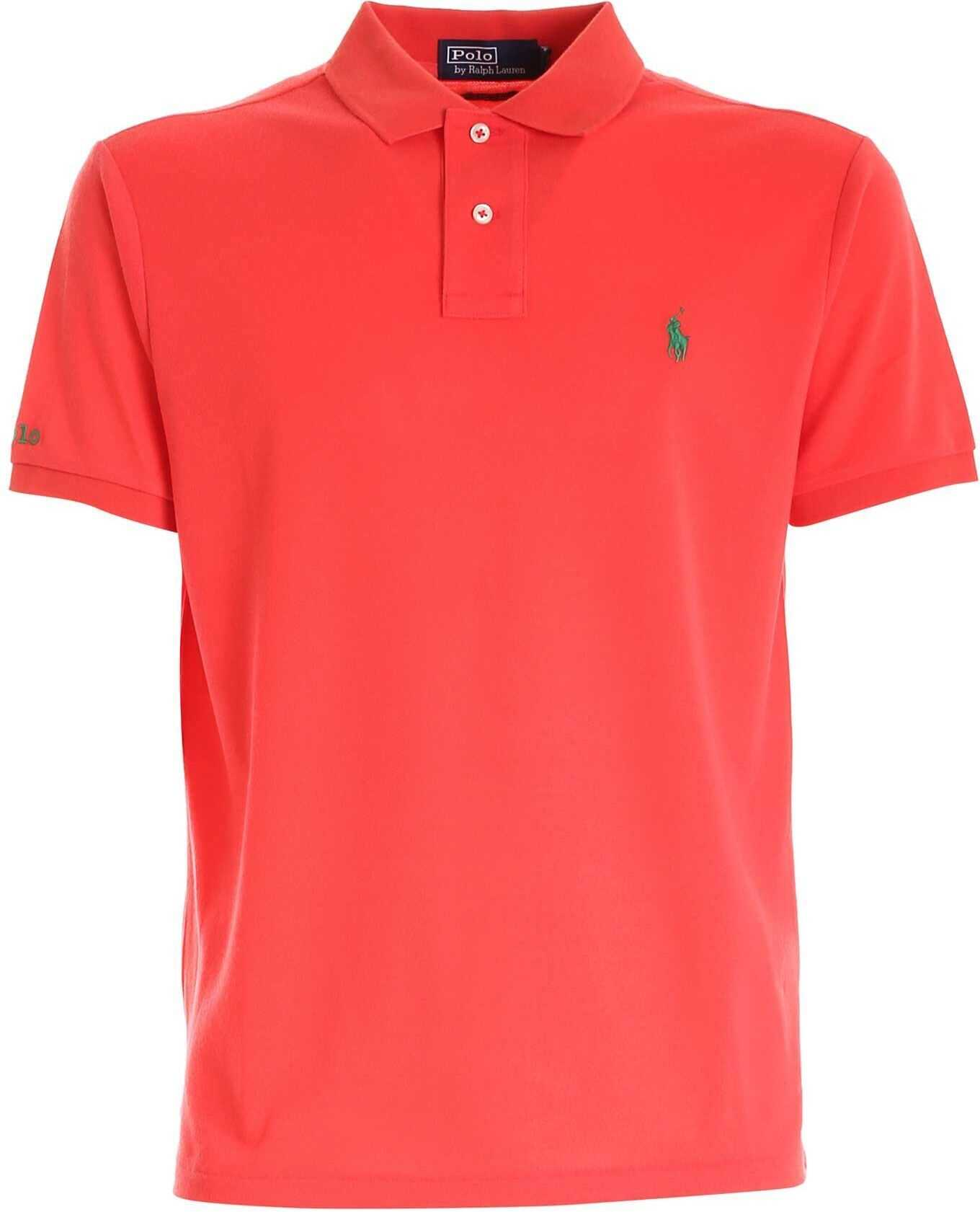 Ralph Lauren Green Embroidery Polo Shirt In Red Red imagine