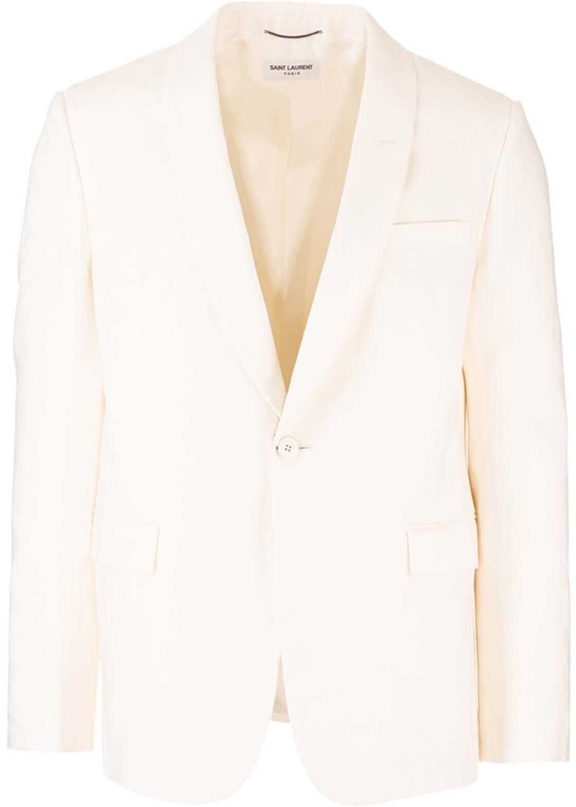 Saint Laurent One Button Jacket In Ivory Color White imagine