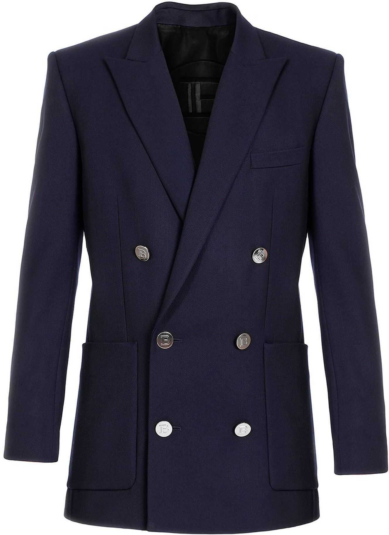 Balmain Virgin Wool Double Breasted Blazer In Blue Blue imagine