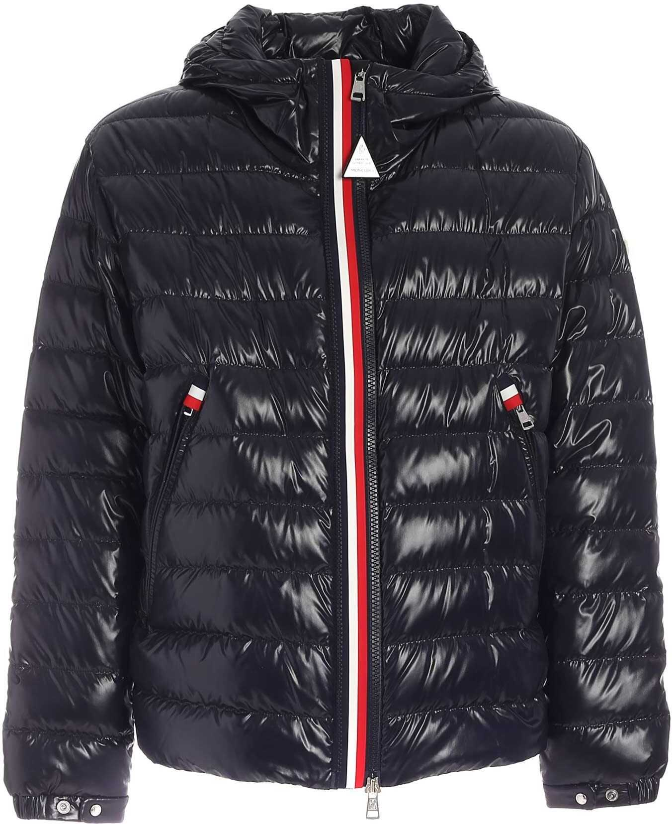 Moncler Blesle Logo Patch Down Jacket In Blue Blue imagine