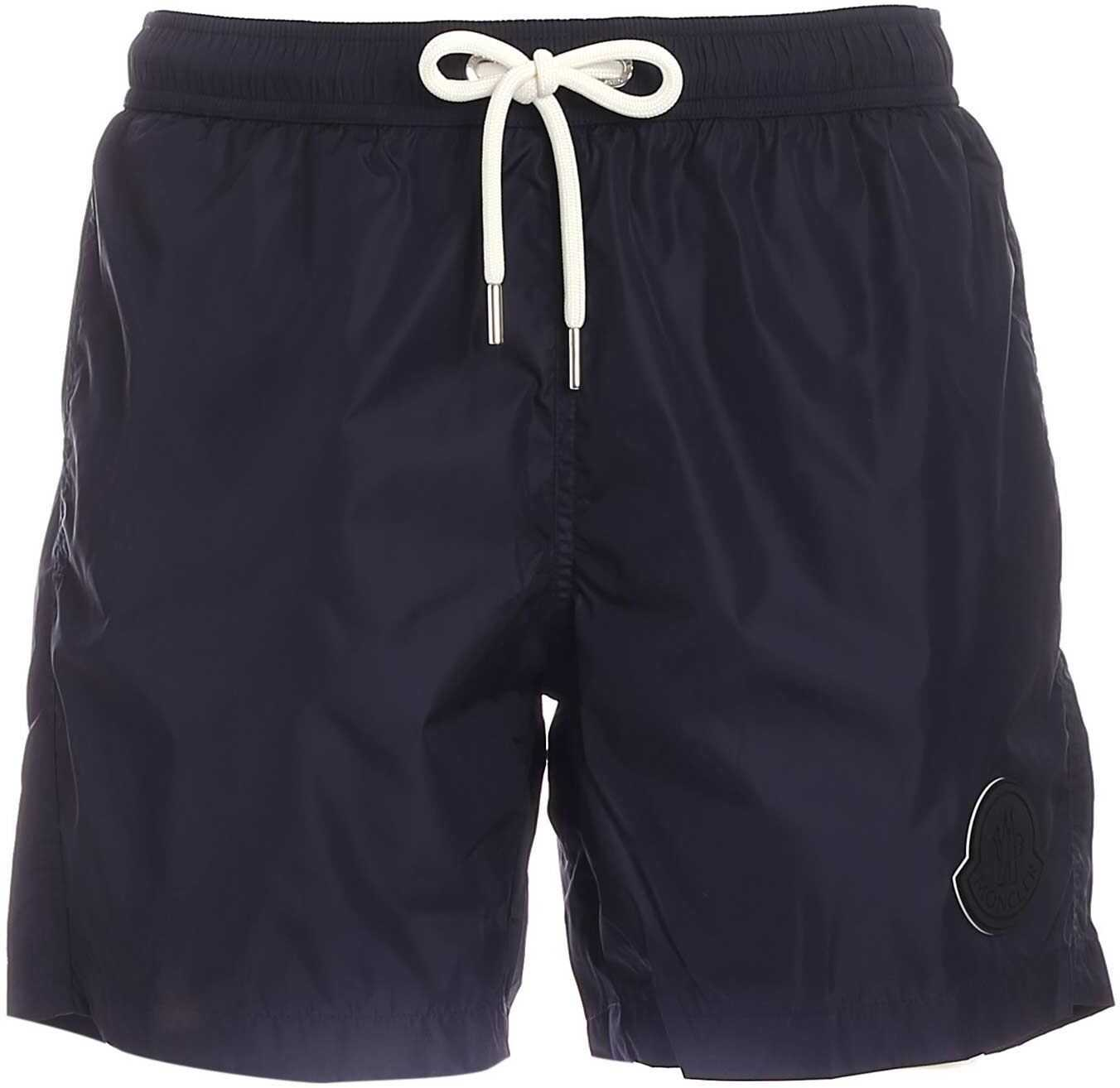 Moncler Maxi Logo Patch Swim Shorts In Blue Blue imagine