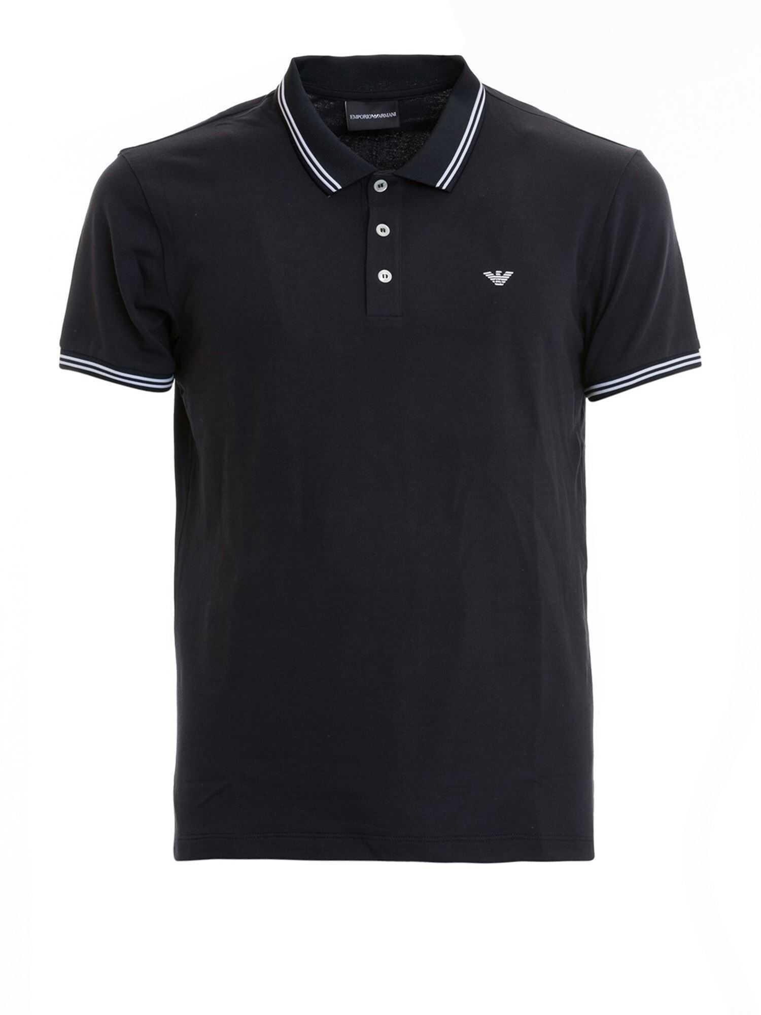 Emporio Armani Contrasting Edges Blue Polo Shirt Blue imagine