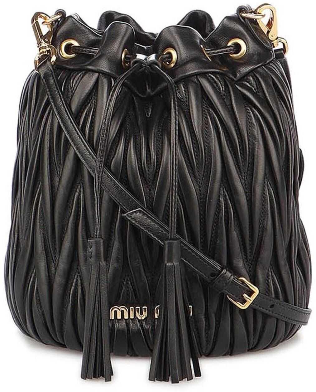 Miu Miu Matelassé Nappa Bucket Bag In Black 5BE014N88VOOOF0002 Black imagine b-mall.ro