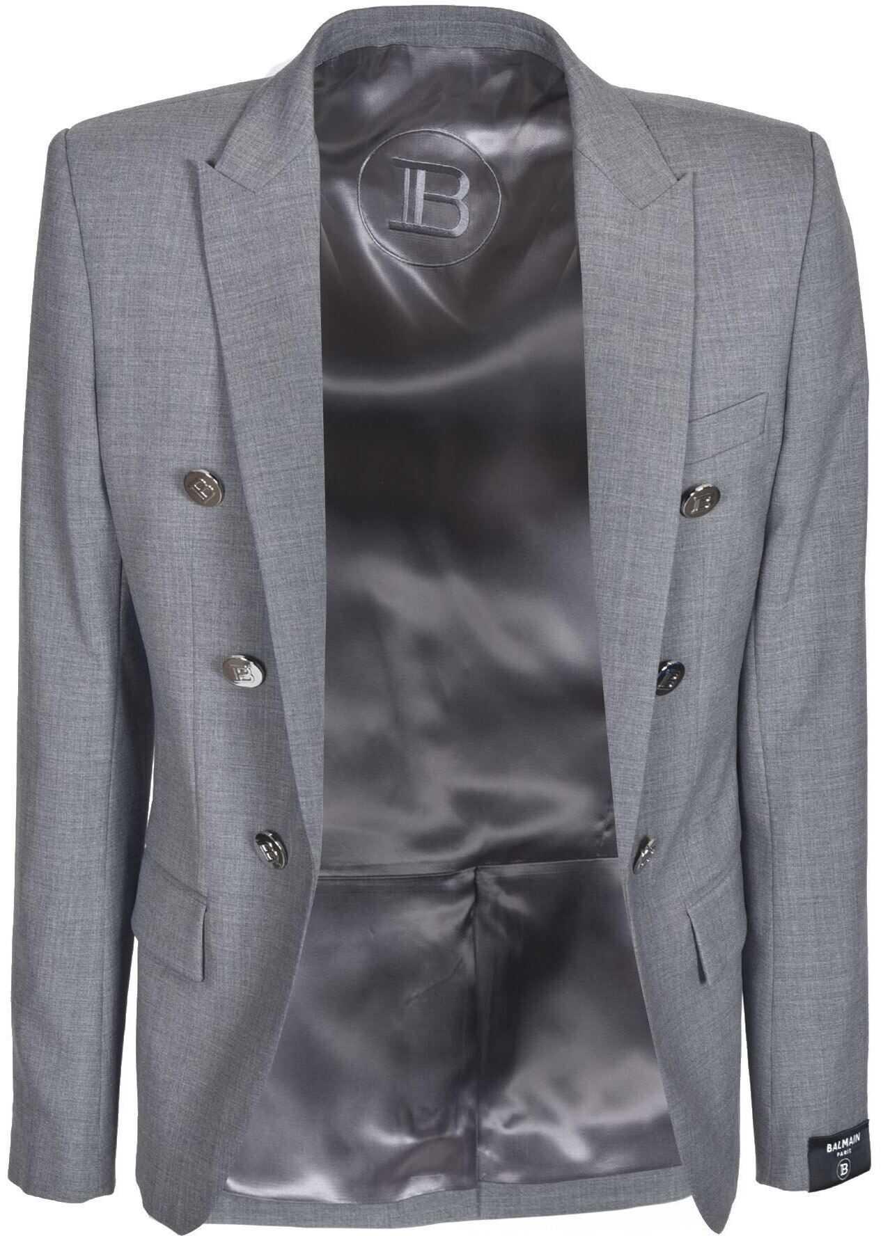 Balmain Decorative Buttons Jacket In Gray Grey imagine