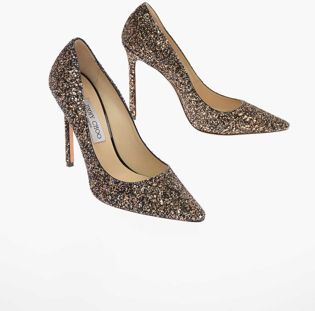 Jimmy Choo Glittered Leather ROMY 110 Pumps with Stiletto Heel 12 Cm GOLD imagine b-mall.ro