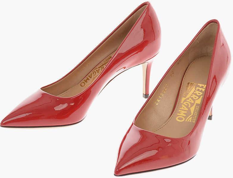 Salvatore Ferragamo Patent Leather FIORE Pumps with Stiletto Heel 7 Cm RED imagine b-mall.ro