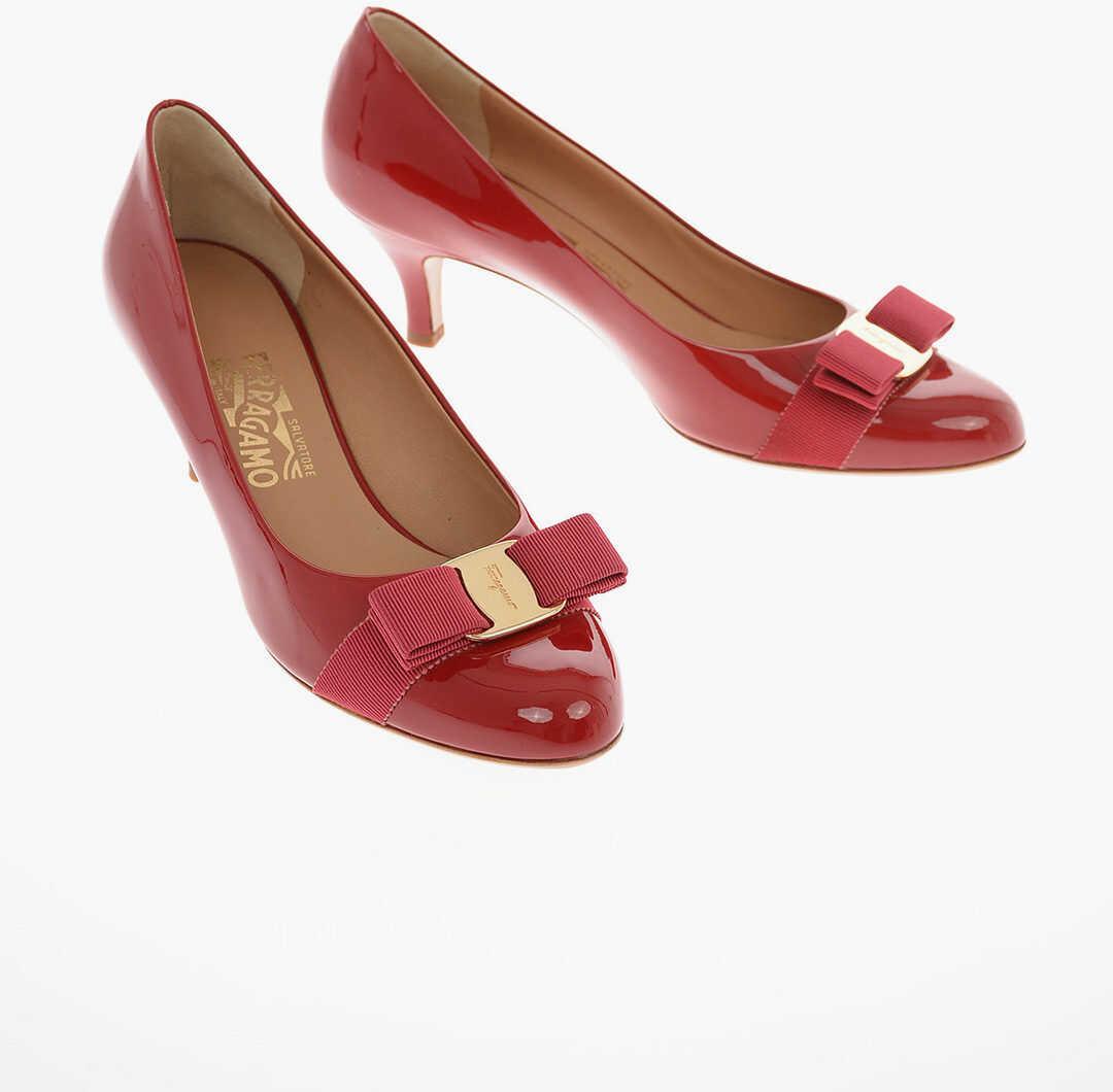 Salvatore Ferragamo Patent Leather FIORE Pumps with Bow 5 Cm RED imagine b-mall.ro
