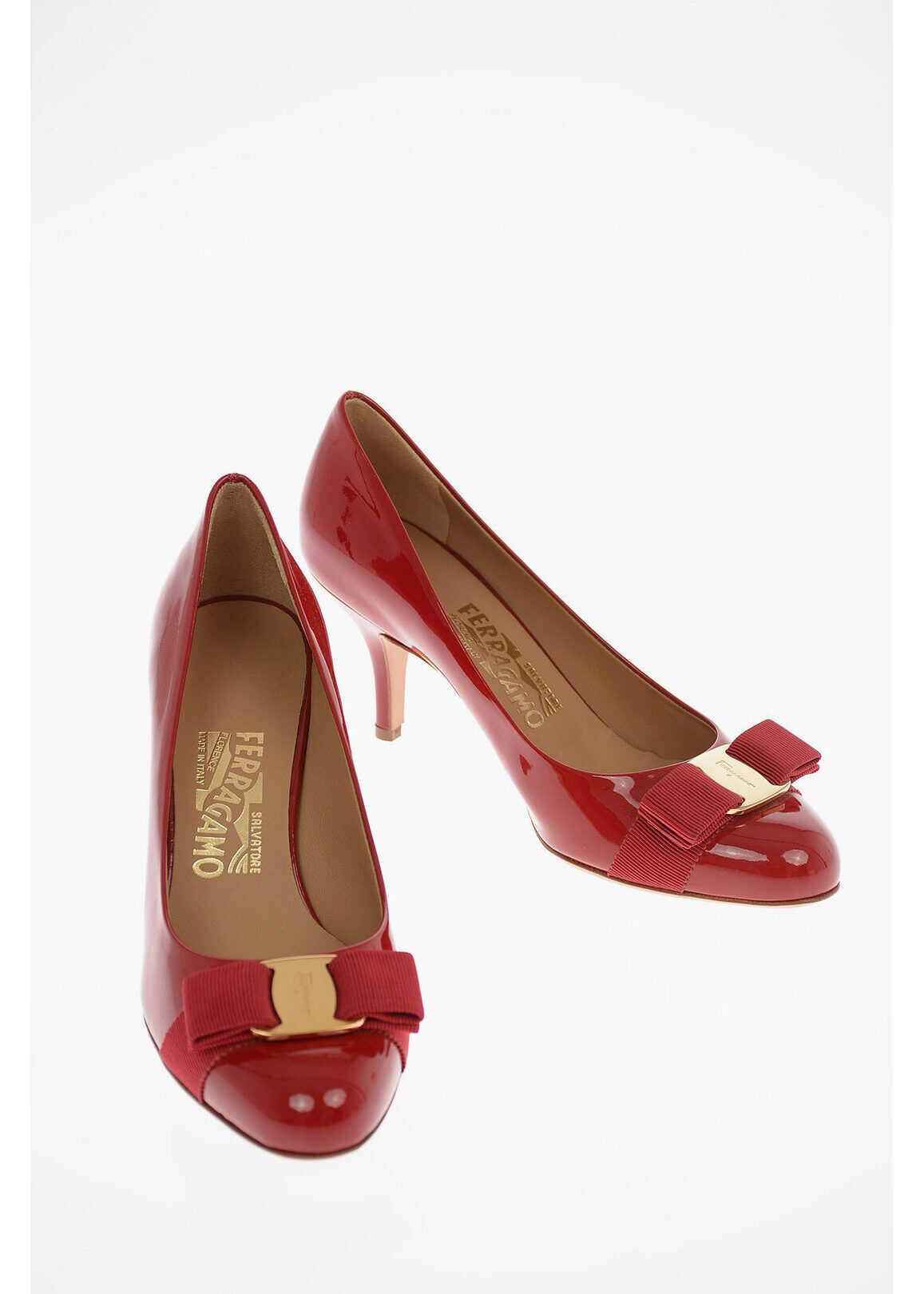 Salvatore Ferragamo Patent Leather CARLA Pumps with Bow Detail 7 cm RED imagine b-mall.ro