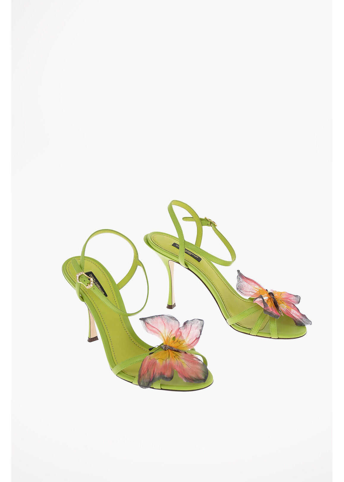 Dolce & Gabbana Soft Leather Sandals with Butterfly Detail 10 Cm GREEN imagine b-mall.ro
