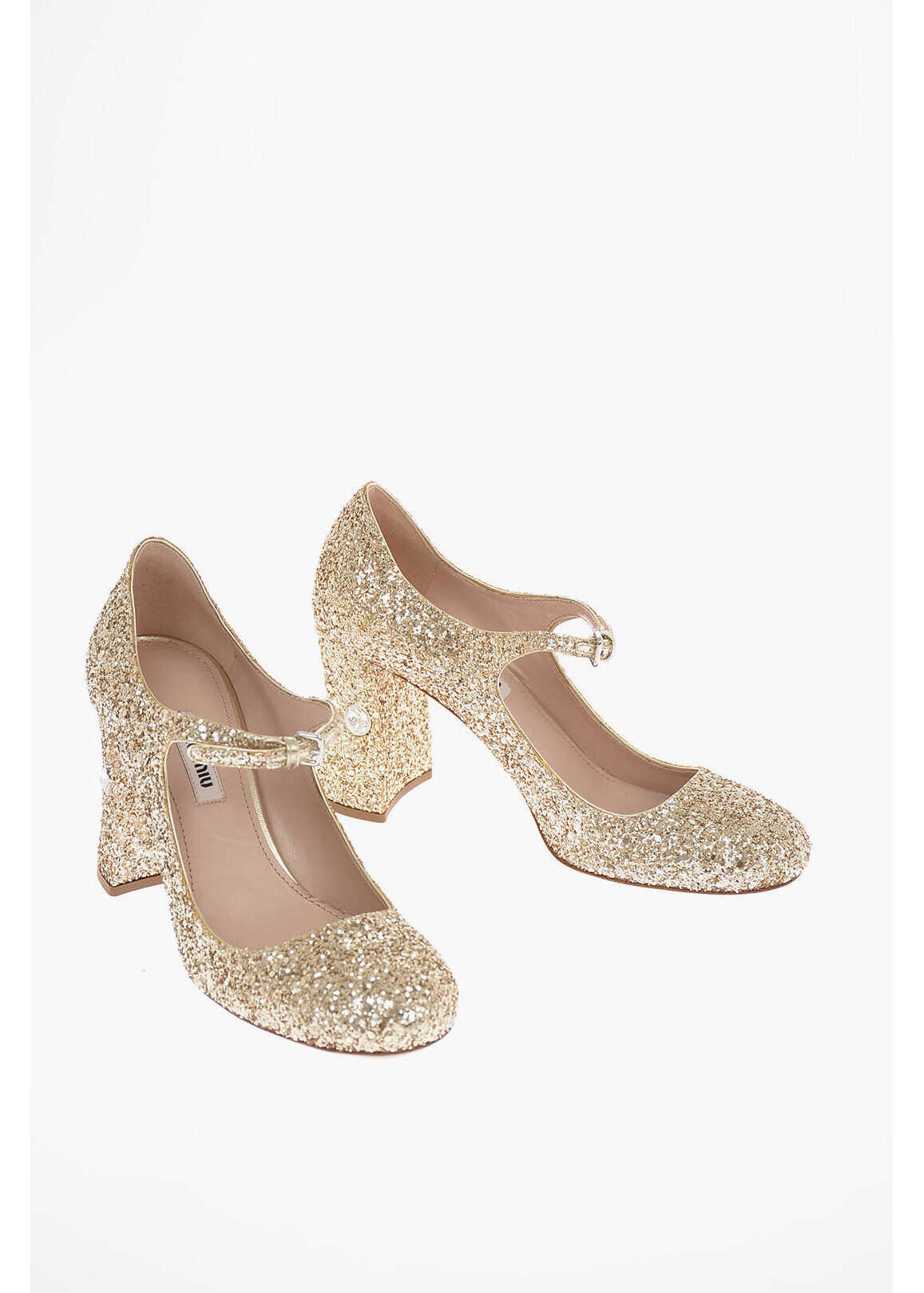 Miu Miu Glittered Leather Pumps with Ankle Strap and Jewel Heel 9 Cm GOLD imagine b-mall.ro