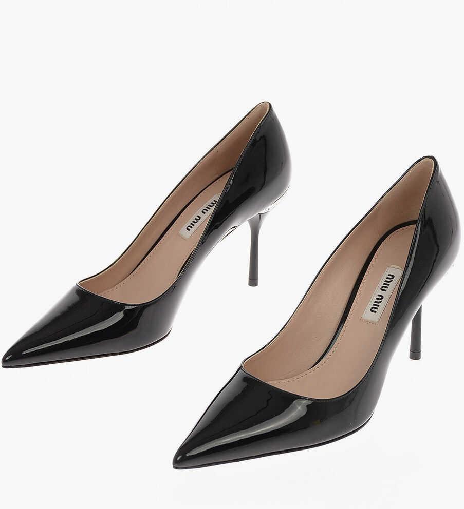 Miu Miu Patent Leather Pumps with Jewel Heel 9.5 Cm BLACK imagine b-mall.ro