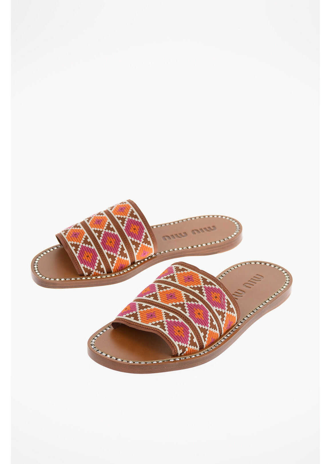 Miu Miu Leather and Embroidered Canvas Slides with Jewel Trimmings BROWN imagine b-mall.ro