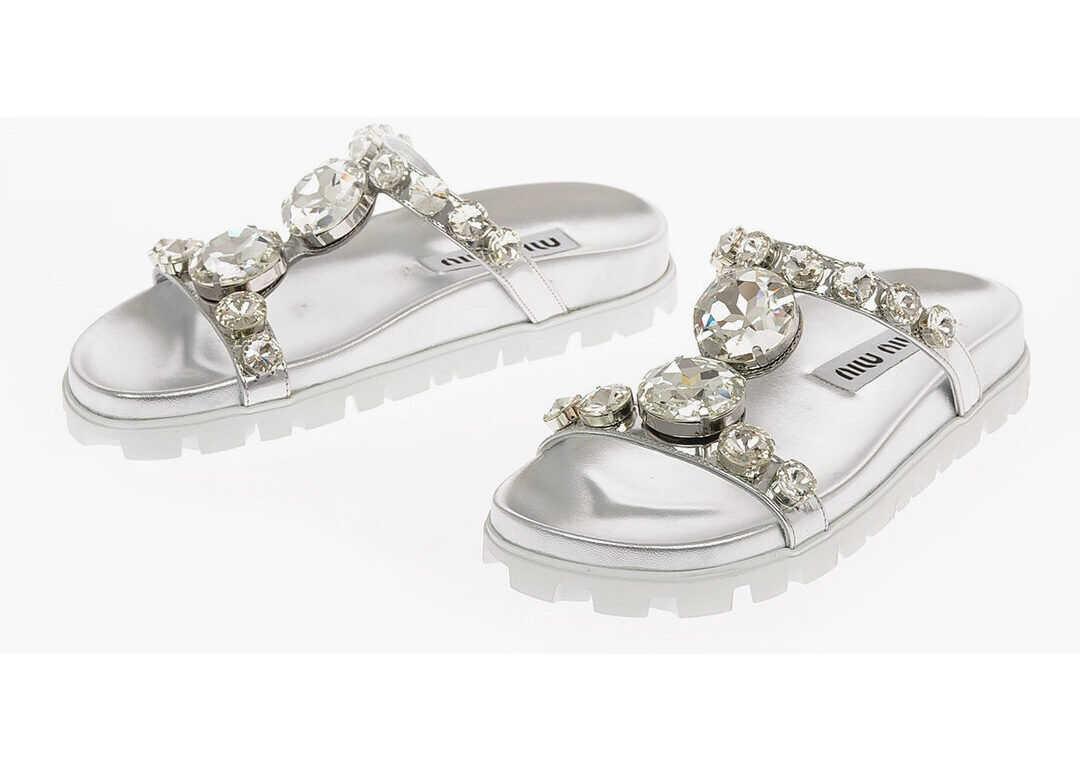 Miu Miu Metallic Leather Jewel Slides SILVER imagine b-mall.ro