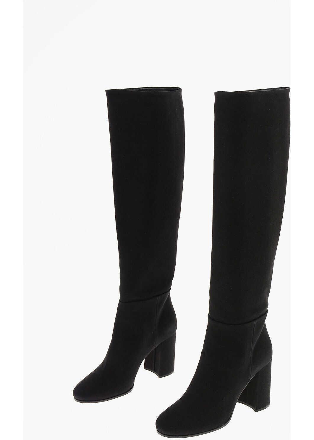 Miu Miu Denim Pull On Knee Length Boots 9 cm BLACK imagine b-mall.ro
