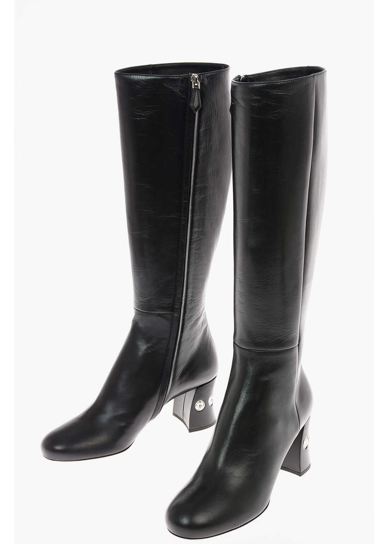 Miu Miu Leather Knee Length Boots with Jewel Heel 7 Cm BLACK imagine b-mall.ro
