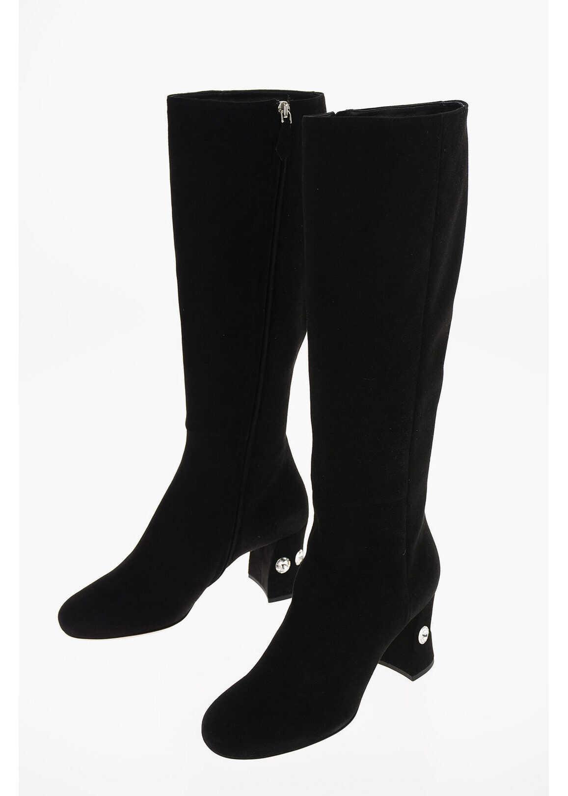 Miu Miu Suede Knee Length Boots with Jewel Heel 7 Cm BLACK imagine b-mall.ro