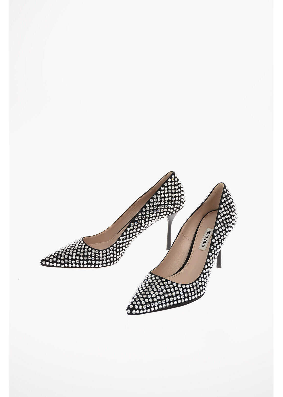 Miu Miu Suede Jewel Pumps with Stiletto Heel 9 Cm BLACK imagine b-mall.ro