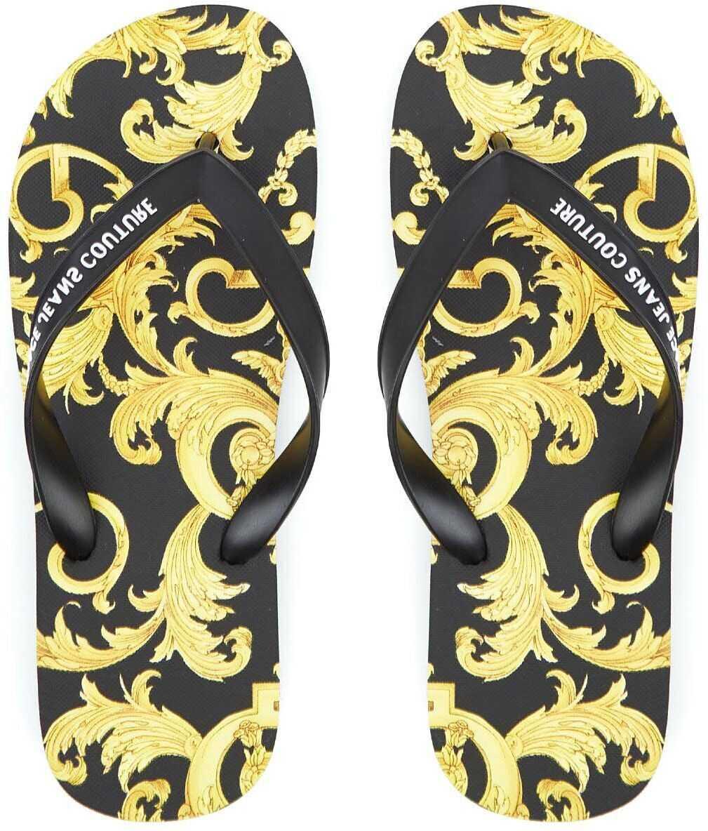 Versace Flip Flop with baroque print Black imagine b-mall.ro
