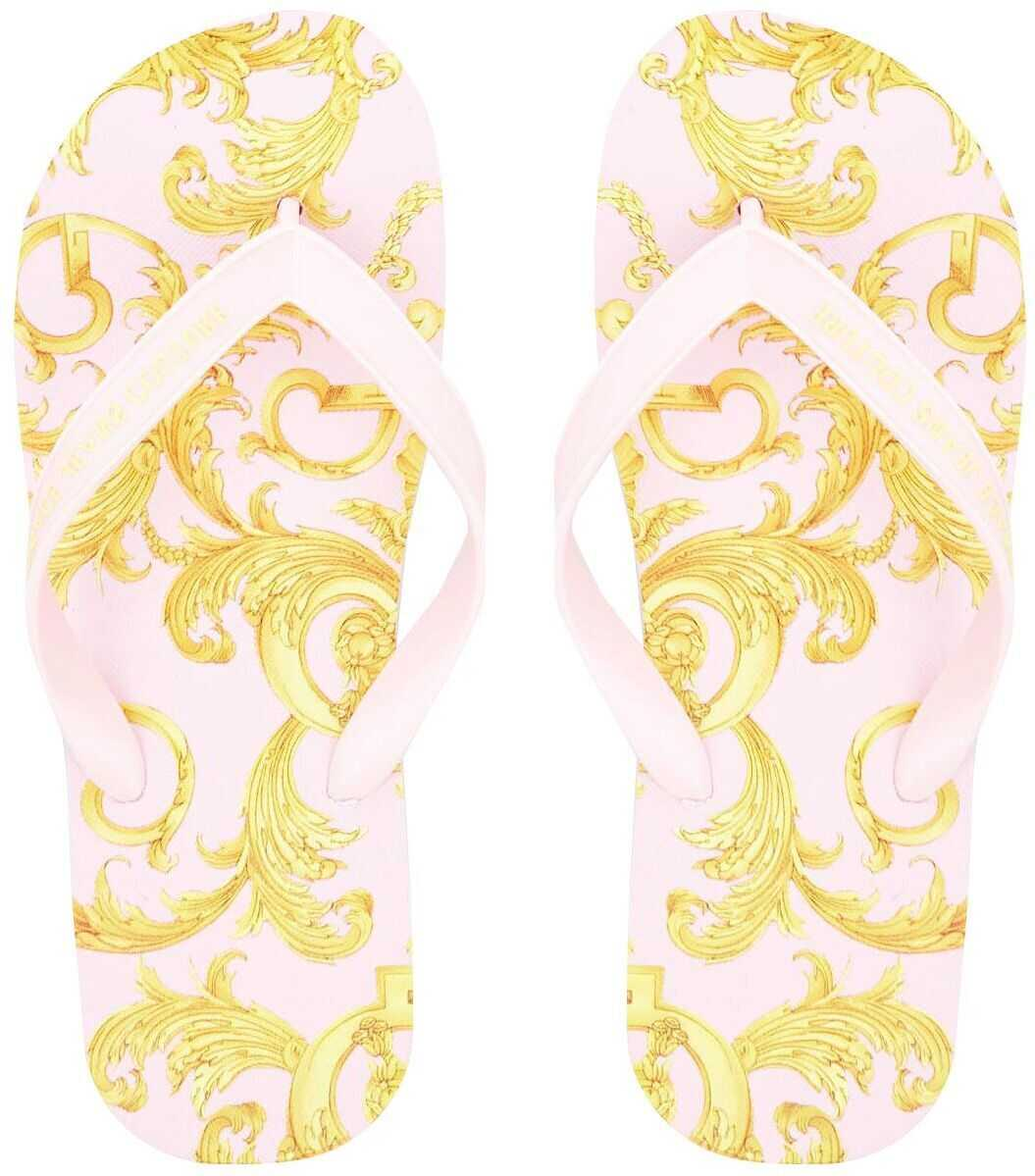 Versace Flip Flop with baroque print Rose imagine b-mall.ro