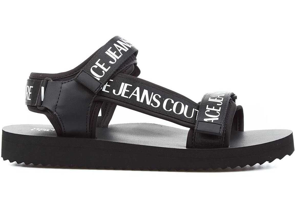 Versace Straps sandals with logo Black imagine b-mall.ro