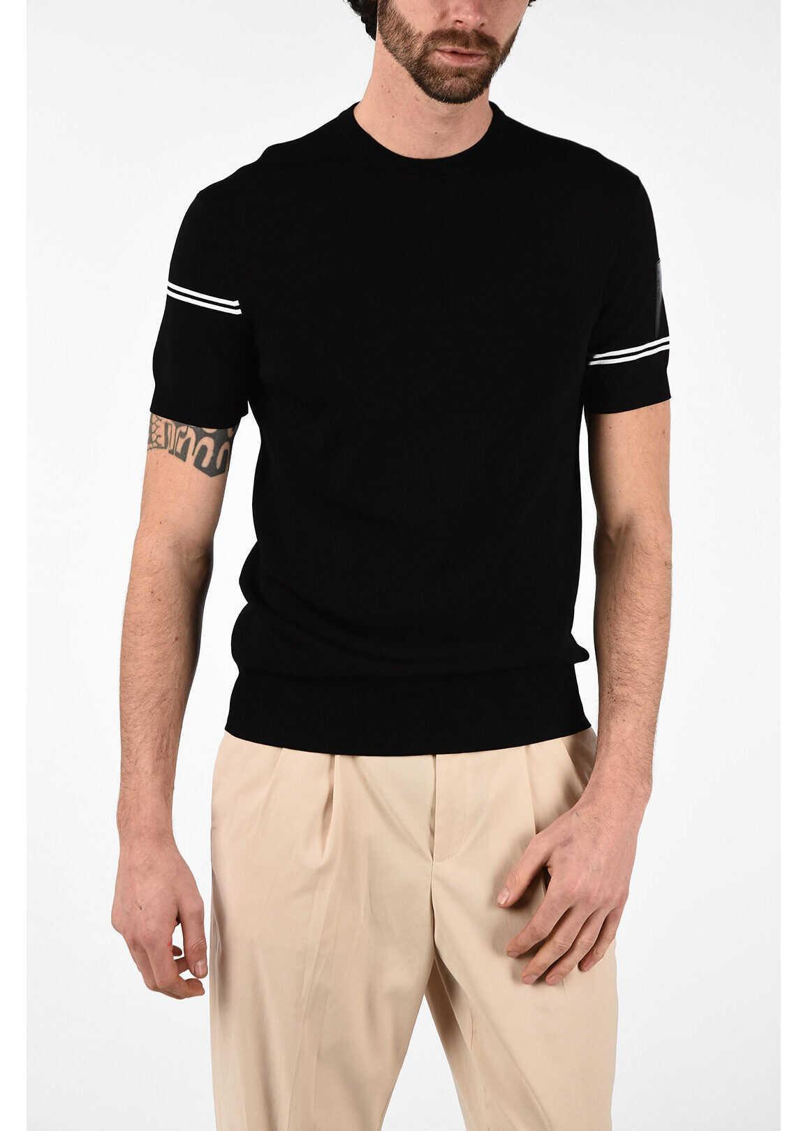 Neil Barrett Short Sleeve Slim Fit Sweater BLACK imagine