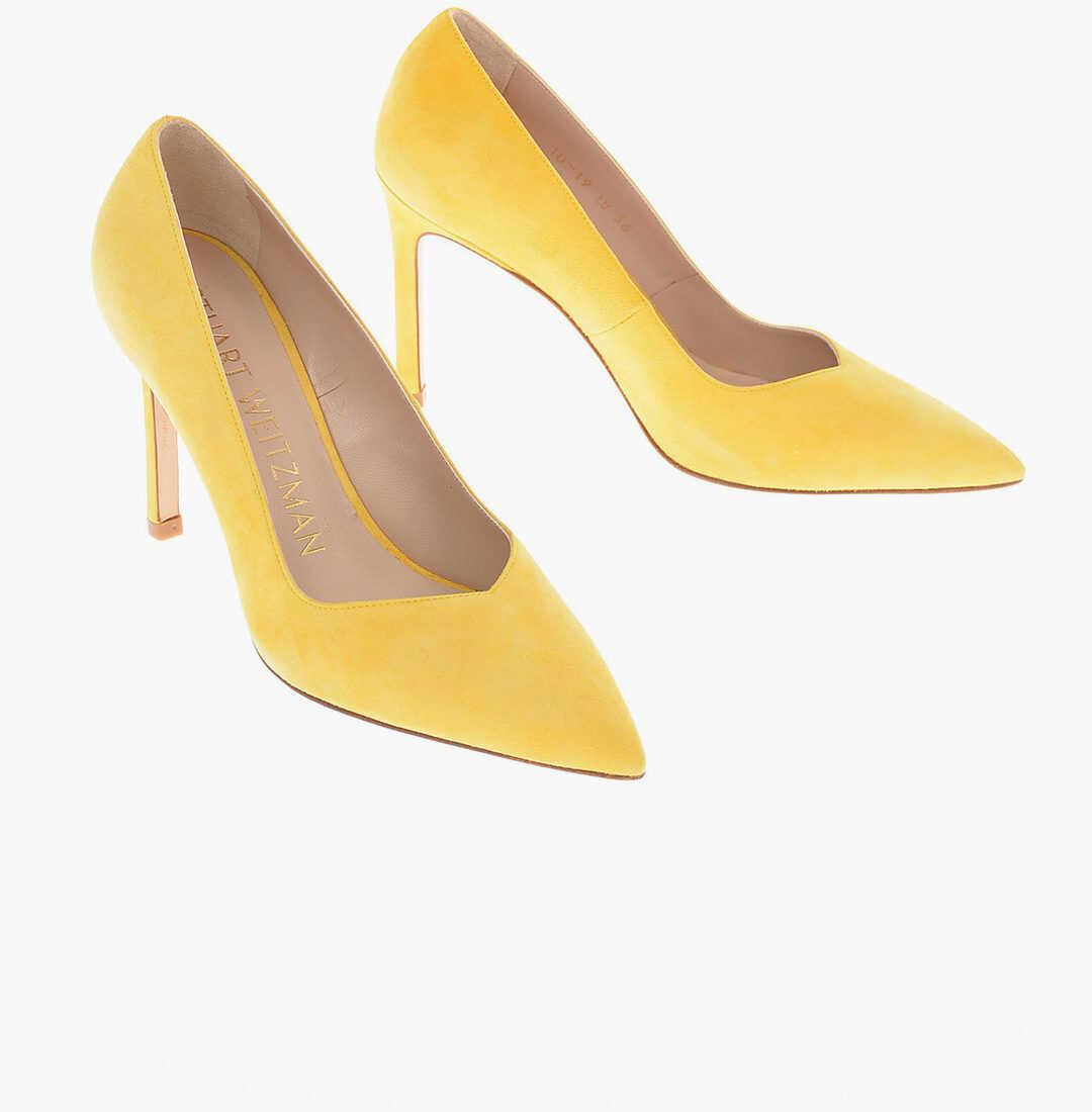 Stuart Weitzman Suede ANNY Pumps with Stiletto Heel 10 Cm YELLOW imagine b-mall.ro