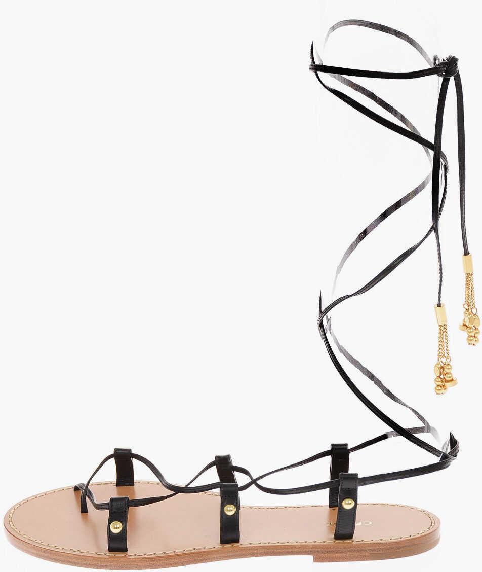 Céline Leather Gladiator Sandals BLACK imagine b-mall.ro