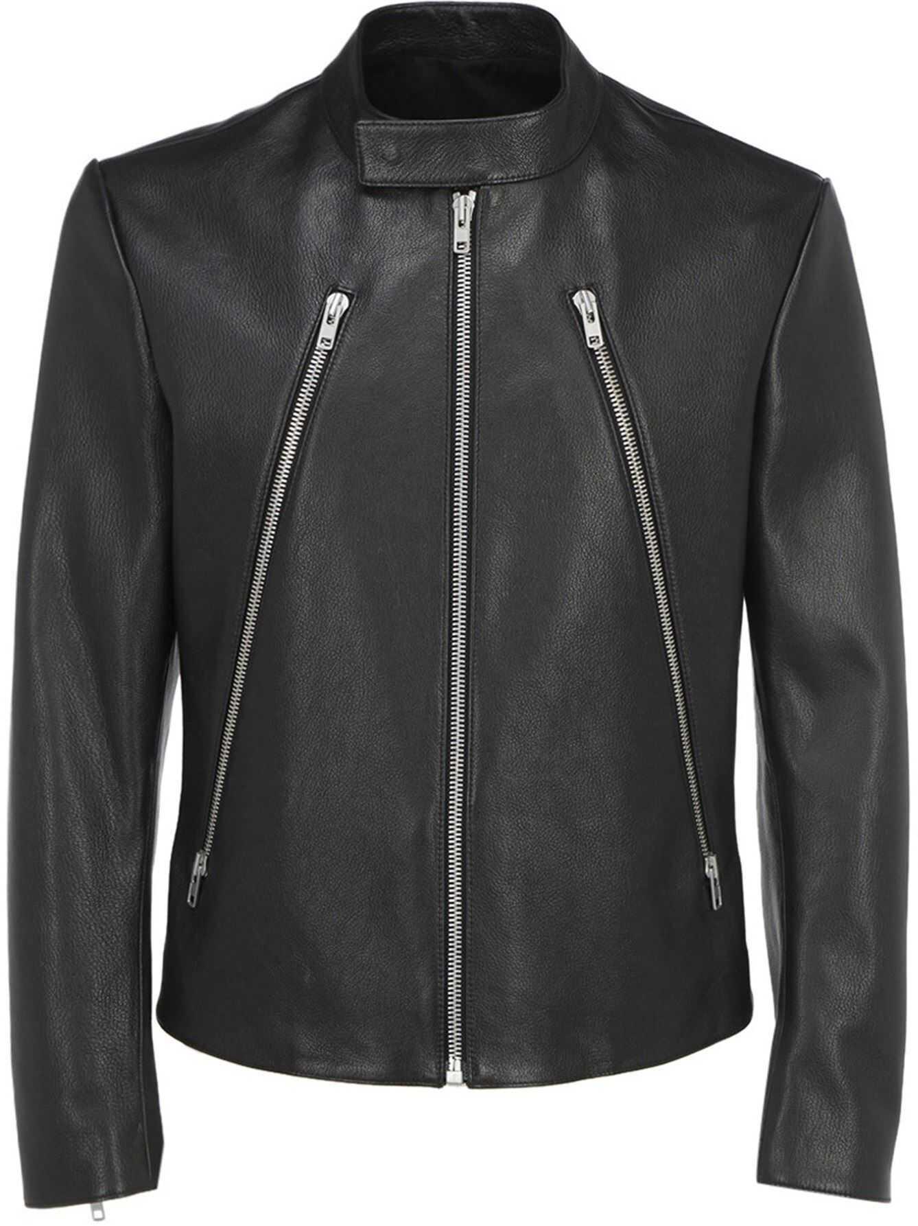 Maison Margiela Leather Biker Jacket In Black Black imagine