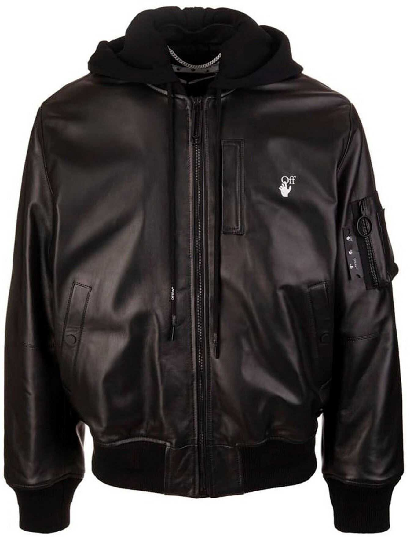 Off-White Arrow Leather Bomber Jacket In Black Black imagine