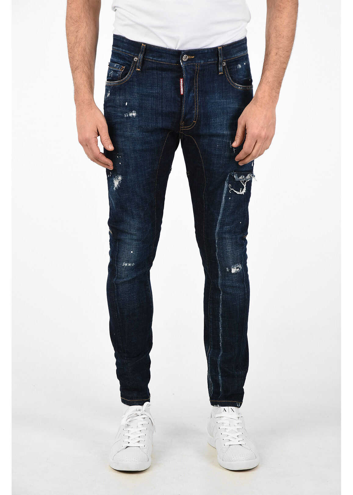 DSQUARED2 15cm Distressed TIDY BIKER Jeans BLUE imagine
