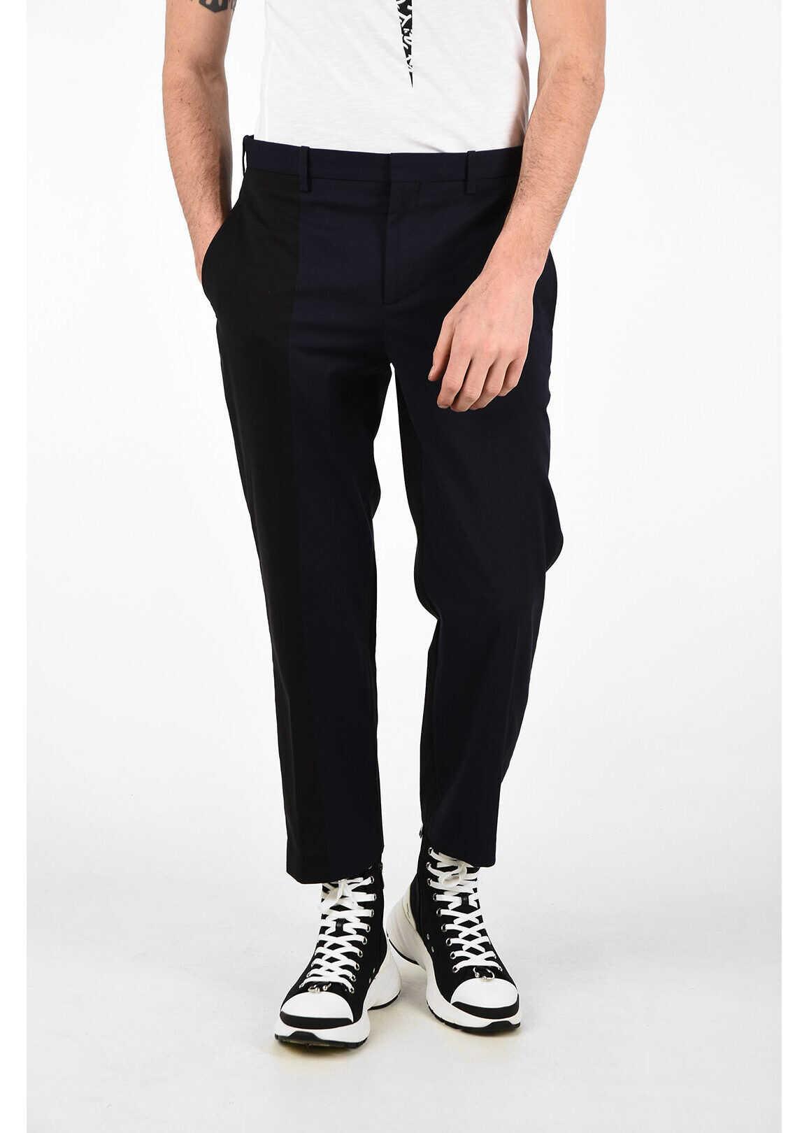 Neil Barrett Slim Fit BI-COLOUR Pants with Hidden Closure BLUE imagine
